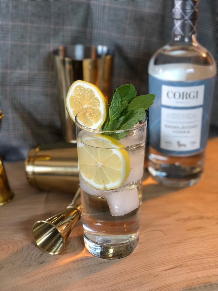 OH HONEY!   2oz Corgi Spirits Saddlecoat Vodka  0.5oz fresh lemon juice  0.75oz honey syrup (1 part honey : 1 part water)  5-6 mint leaves  Club soda  Lemon wheel and mint sprig for garnish    Fill a shaker with ice, add all ingredients except club soda and shake vigorously. Strain into a Collins glass over fresh ice and top with club soda. Garnish with lemon wheel and mint sprig.