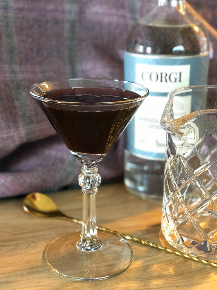 PORT & ELDER   2.0oz Corgi Spirits Saddlecoat Vodka  1oz port wine  0.5oz elderflower liqueur    Fill a mixing glass with ice, add all ingredients, and stir until extremely well chilled. Strain into a chilled cocktail glass.