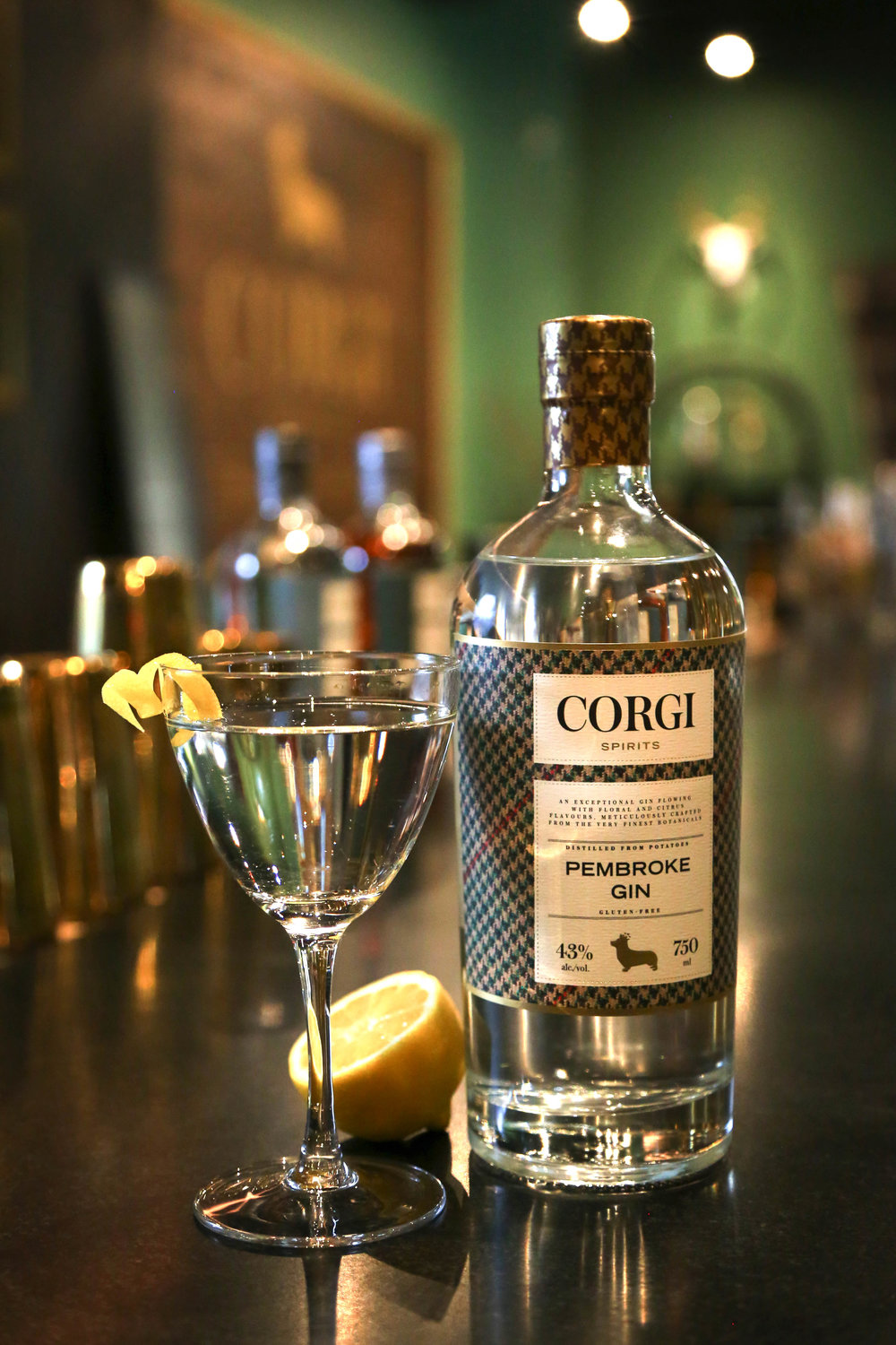 CLASSIC MARTINI   2.5 oz Corgi Spirits Pembroke Gin  0.5 oz dry vermouth  Lemon twist or olives for garnish    Fill a mixing glass with ice, add gin and vermouth. Stir until well chilled. Strain into a chilled cocktail glass. Add garnish.