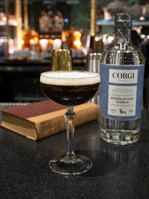 ESPRESSO MARTINI   2 oz. Corgi Spirits Saddlecoat Vodka  1 oz coffee liqueur OR 1 oz. freshly brewed espresso  .5 oz simple syrup    Fill a shaker with ice, add all ingredients and shake vigorously. Double-strain into chilled coupe. Garnish with 3 coffee beans.