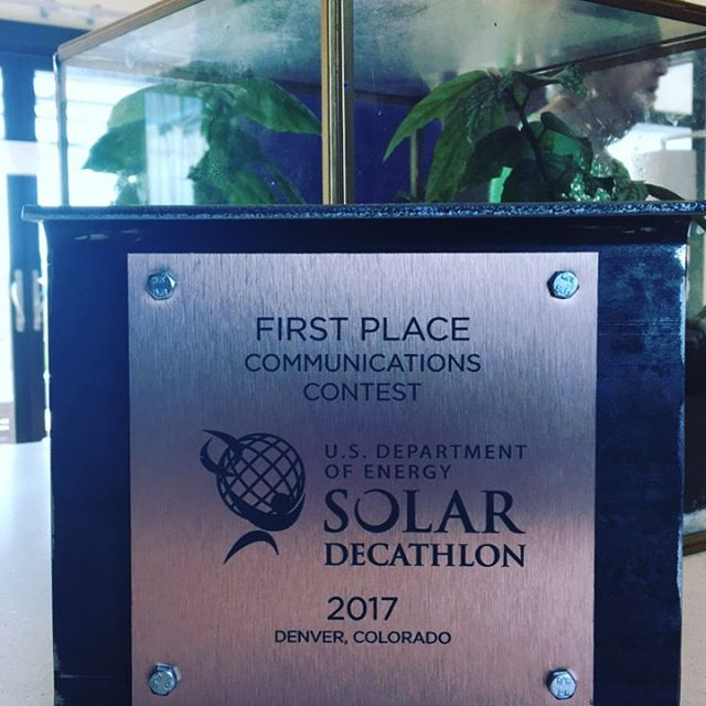 We are so thrilled to have won first place in Communications!  So many people to be thankful to! @northwesternu @doesolardecathlon @energy  Everyone from our team, our OLLI family and our Engineering school, ISEN and all our sponsors!!! #hbn2017 #firstplace #communications #sd2017 #excited