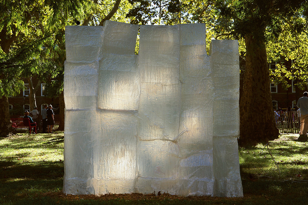 Untitled (ice cubes) , 7 x 8 x 1 feet, 2015. Site specific sculpture for GIAF 2015, Governors Island, New York.