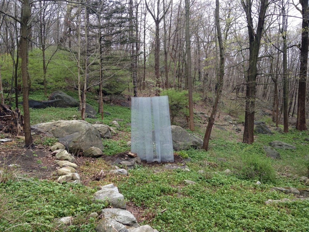 Yushan mountain,  etal mesh, 10 x 6 x 4 feet, 2017. Commission for Crystal Park, Holmes, NY.