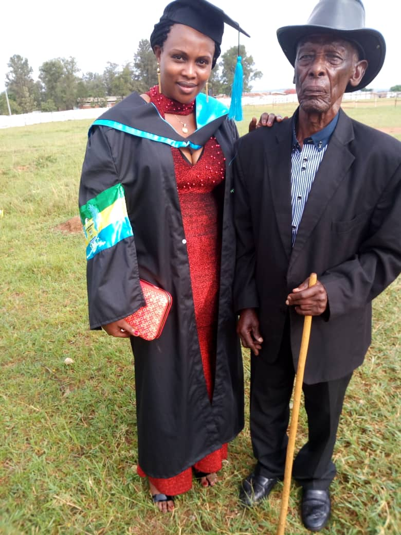 Jackie at graduation with her father
