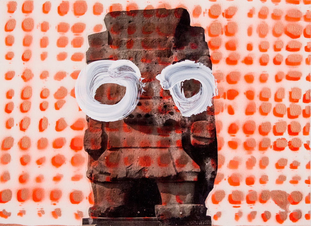 "Orange Tlaloc with Eyes , 11"" x 14.75"", Digital prints with acrylic and spray paint on paper, 2015"