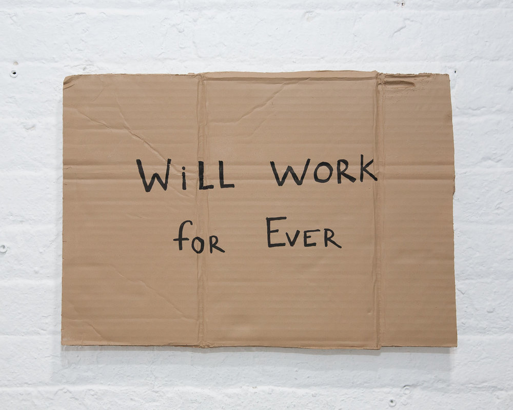 "Alejandro Diaz,  Will Work For Ever , 13"" x 18.5"", acrylic paint on cast resin, 2012"