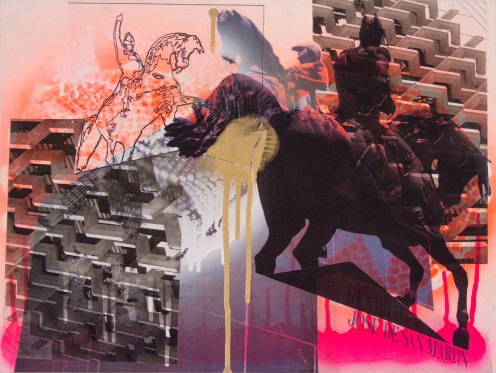 "San Martin Horses with Archeo Window Pattern , 15"" x 20"", Acetate, adhesive vinyl, marker and spray paint on board, 2015"