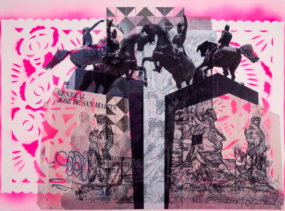 "Pink Dueling San Martins,  22"" x 30"", Acetate, adhesive vinyl, acrylic and spray paint on paper, 2015"