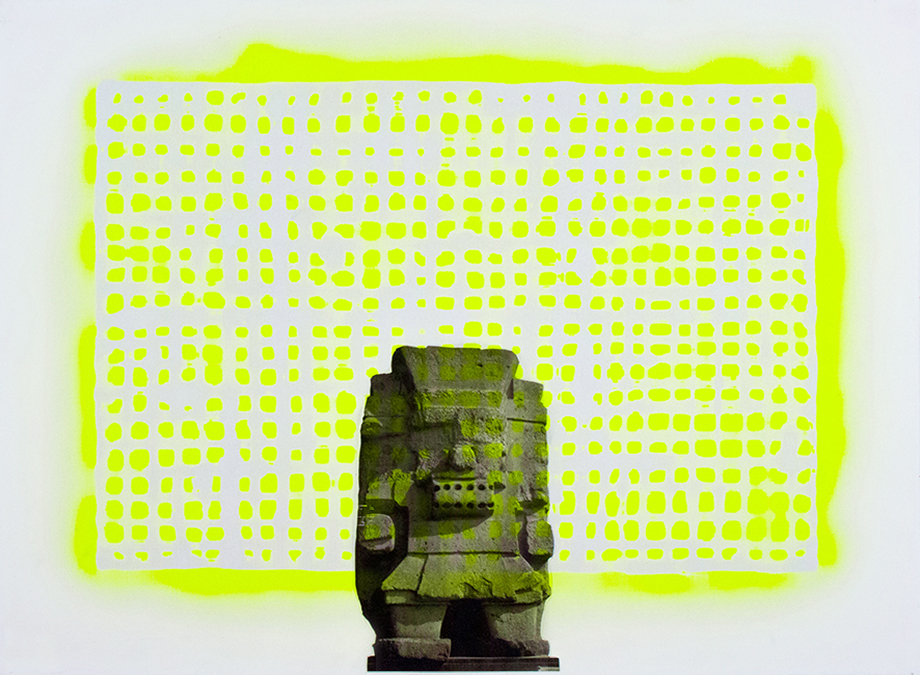 "Ana Wolovick,  Yellow Tlaloc , 20""x 30"", Acetate, vinyl and spray paint on paper, 2015"