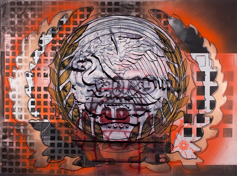 "Orange Laurels Squares and Mexican Insignia , 22"" x 30"", Acetate, adhesive vinyl, marker and spray paint on paper, 2015"