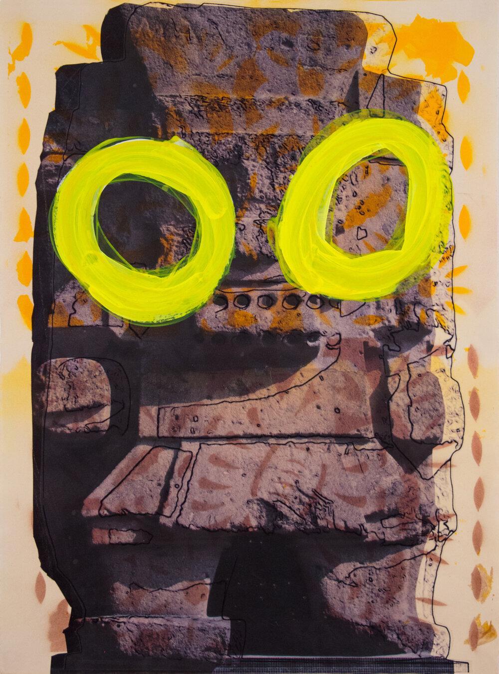 "Large Tlaloc with Eyes,  23.5"" x 17"", Adhesive vinyl, acrylic and spray paint on paper, 2015"