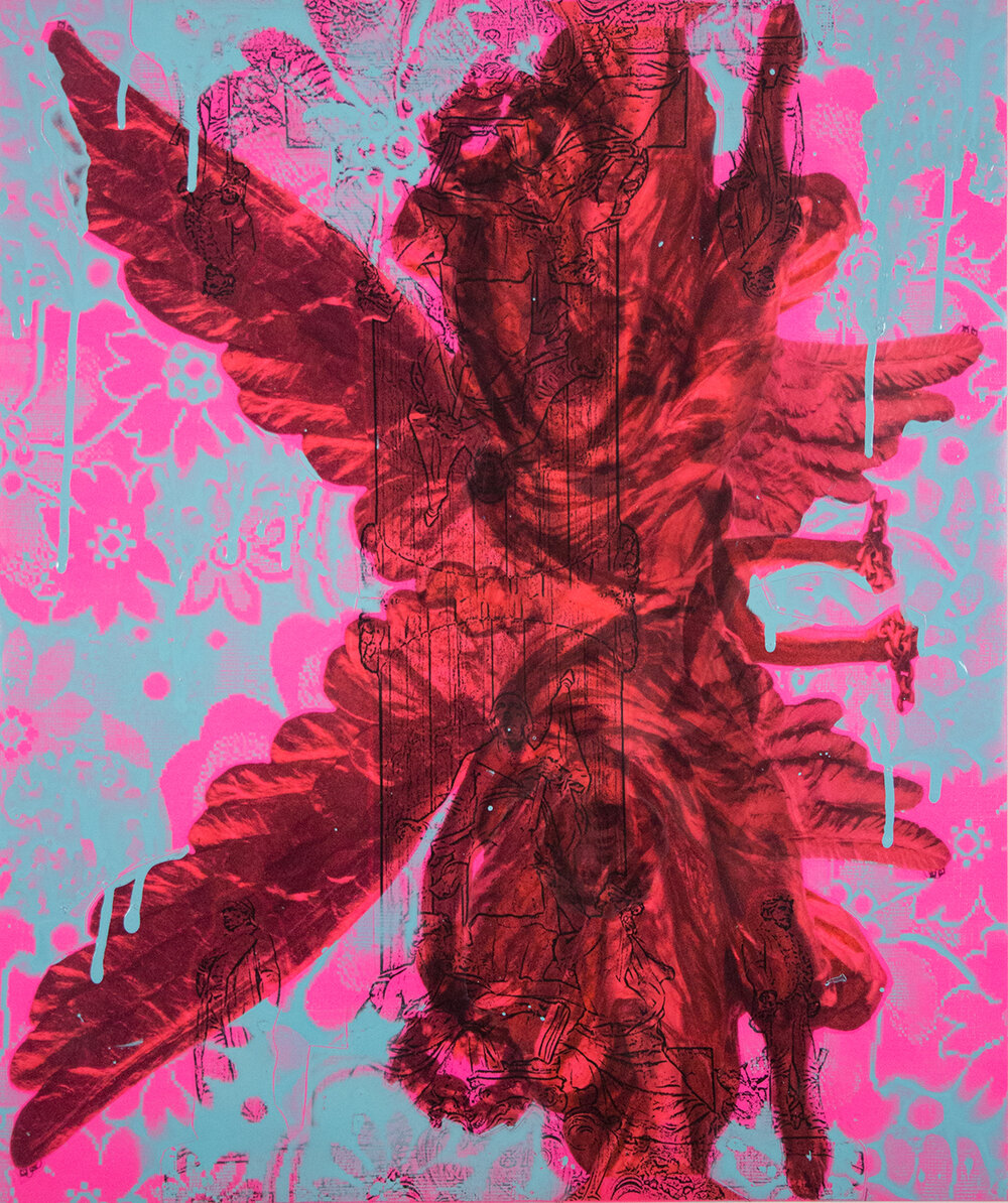 "Pink and Blue Double Angel , 20"" x 26"", Adhesive vinyl and spray paint on paper, 2015"