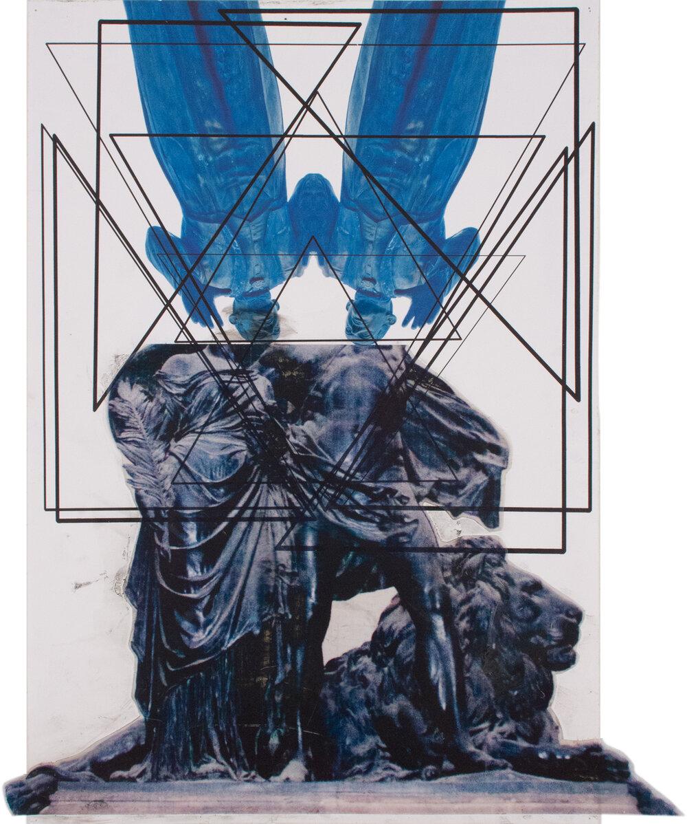 Feldherrnhalle Somohano , 19″ x 16″, Digital prints on acetate and paper, 2015