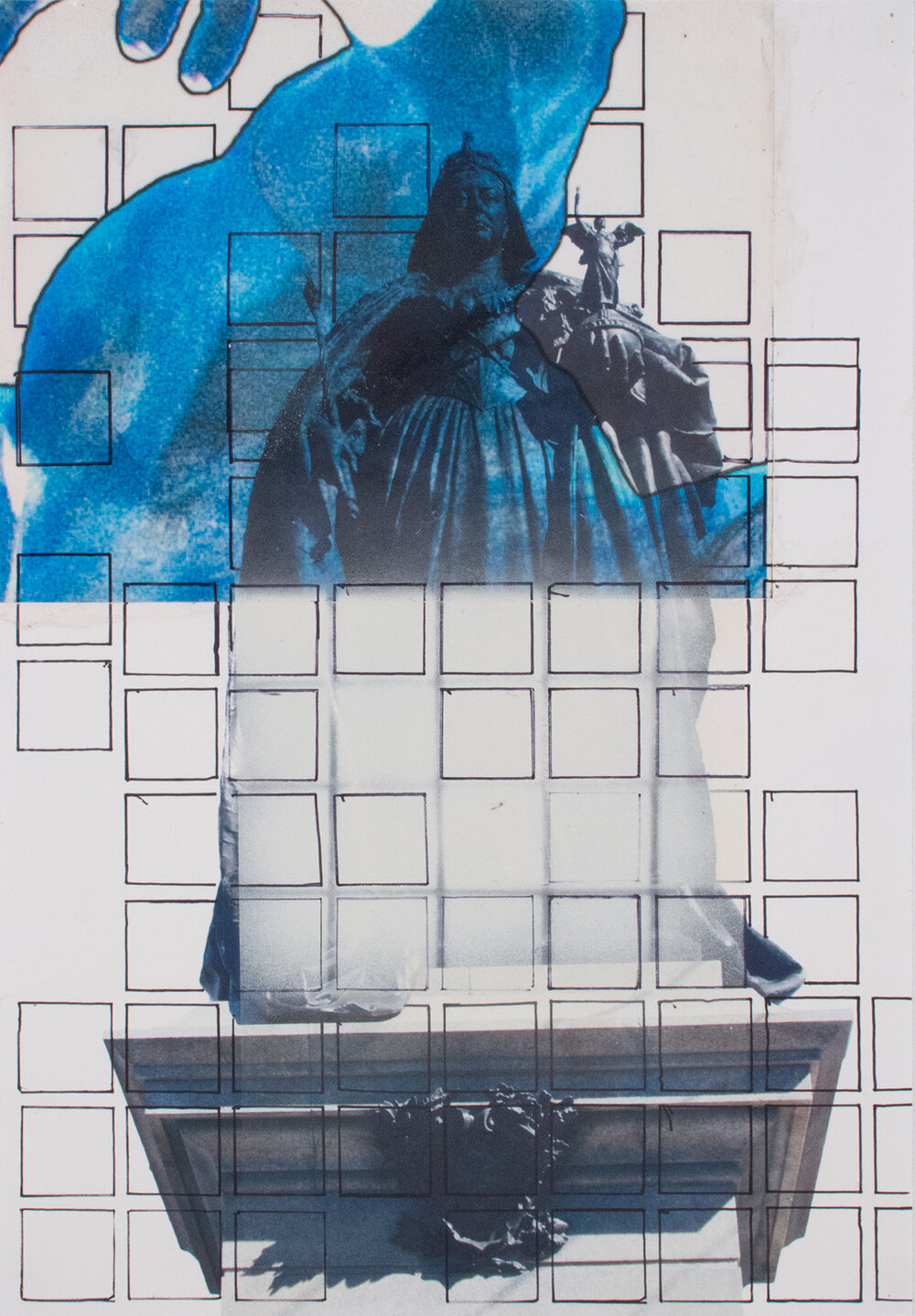Queen Victoria Squares and Arm , 19″ x 13″, Digital Print, Acetate, sharpie and spray paint on paper, 2015