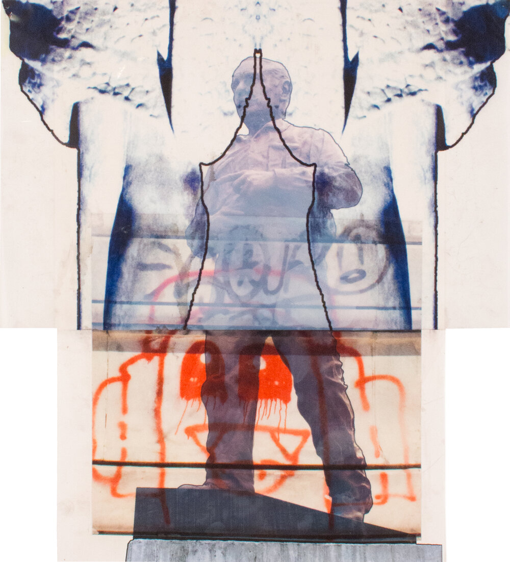 Louis Munoz Marin Collage,  19″ x 17″, Digital prints on paper and acetate, 2015