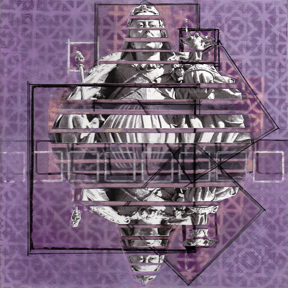 "Purple Squares with Queen Victoria, Wellington NZ , 12"" x 12"", Acrylic, spray paint, china marker, graphite and digital prints on panel, 2014"