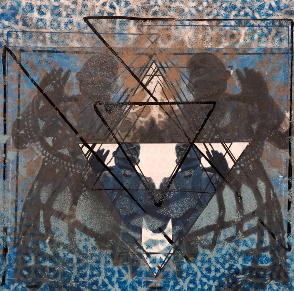 "Study for Blue Triangles with Arturo Somohano, San Juan PR , 12"" x 12"", Acrylic, spray paint, china marker, graphite, ink and digital prints on panel, 2014"