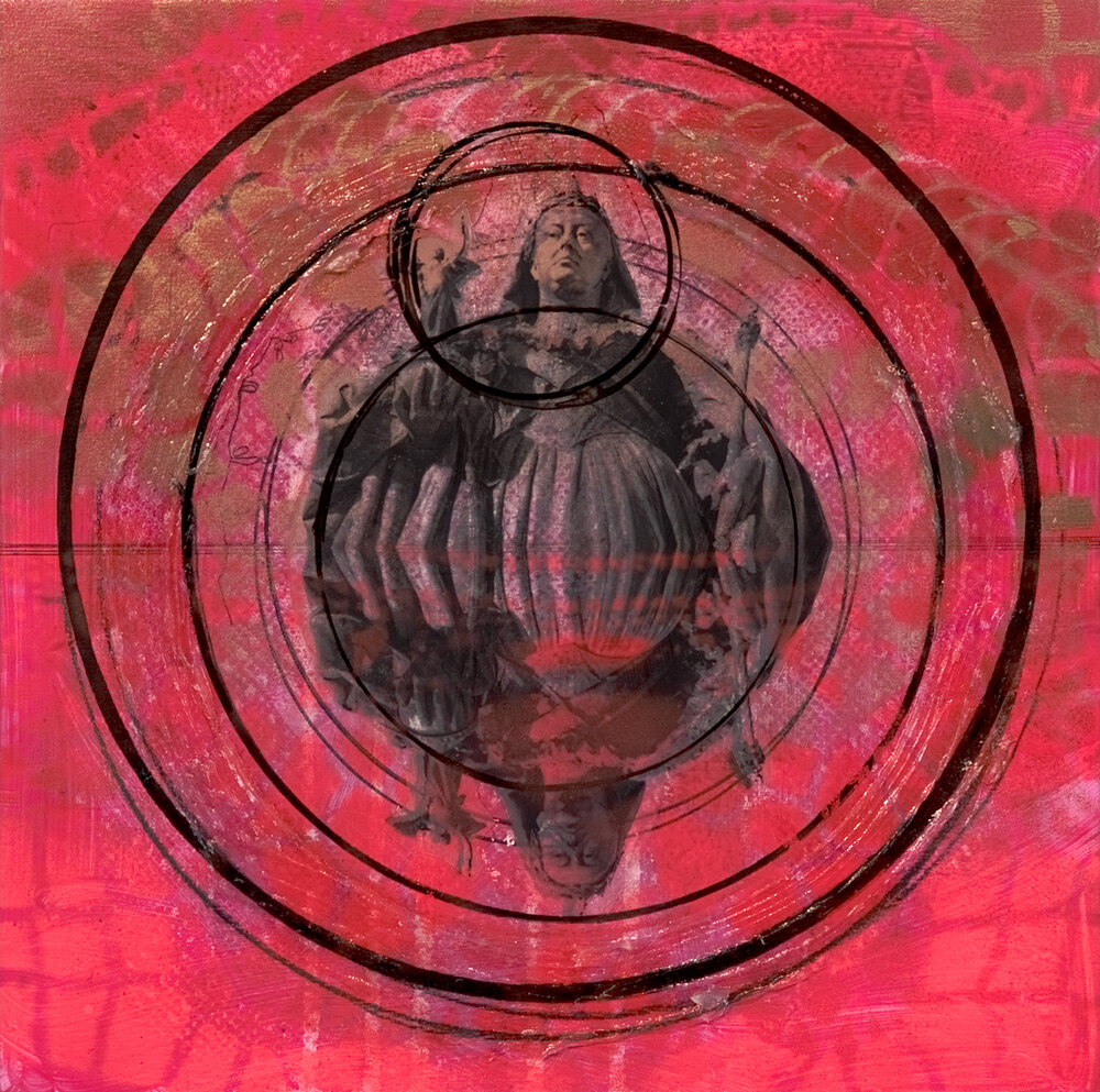 "Study for Red Circles with Queen Victoria, Wellington NZ  , 12"" x 12"", Acrylic, spray paint, china marker, graphite, ink and digital prints on panel, 2014"