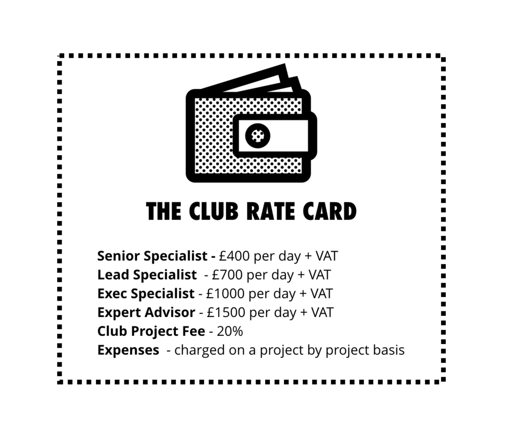 transparent Market-indexed rates - The Club is completely transparent around what it charges clients, how much it pays talent, and its operational costs. And profits are redistributed to its members and re-invested in The Club.