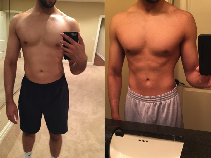 (Week 1 vs. Week 8: 12lb loss during his cutting phase)