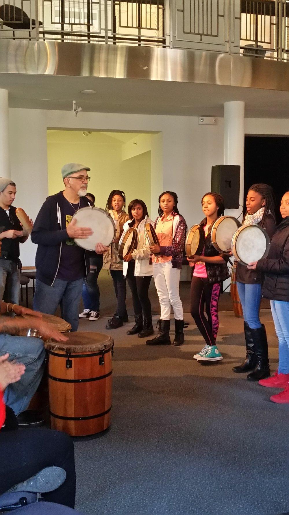 Los Pleneros Performanc and Drumming Workshop at Arts Westchester March 2017