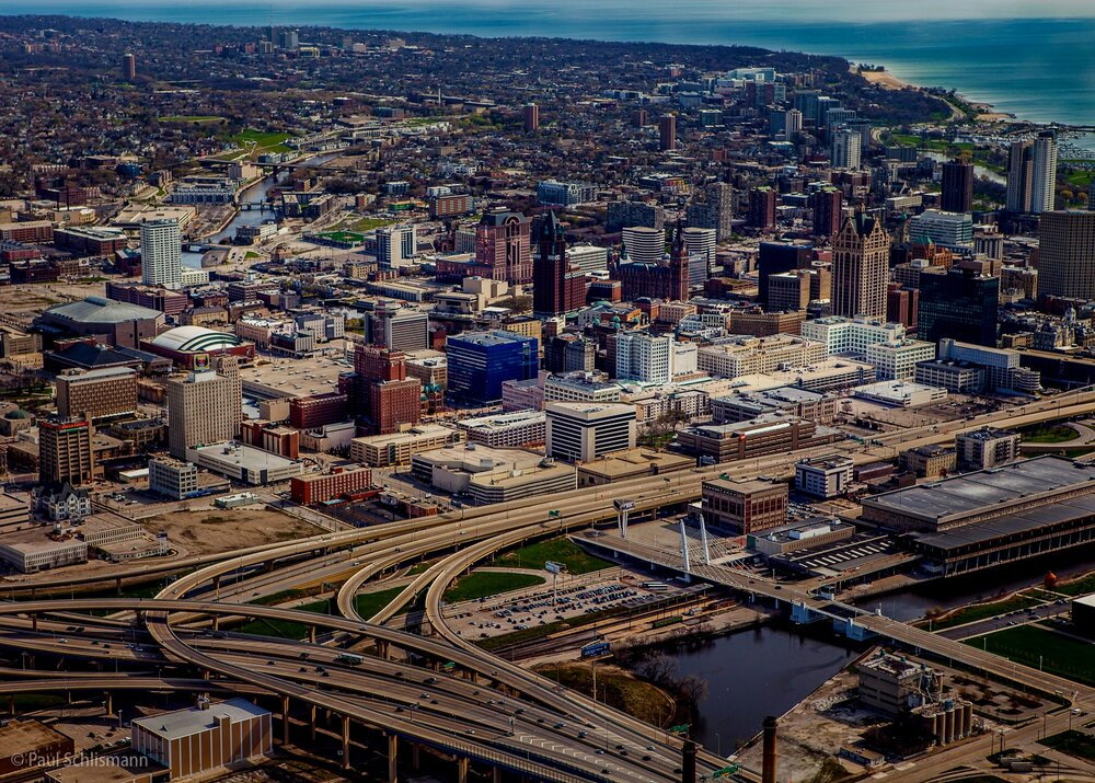 Milwaukee corporate photographer | Aerial skyline view of Milwaukee, Wisconsin