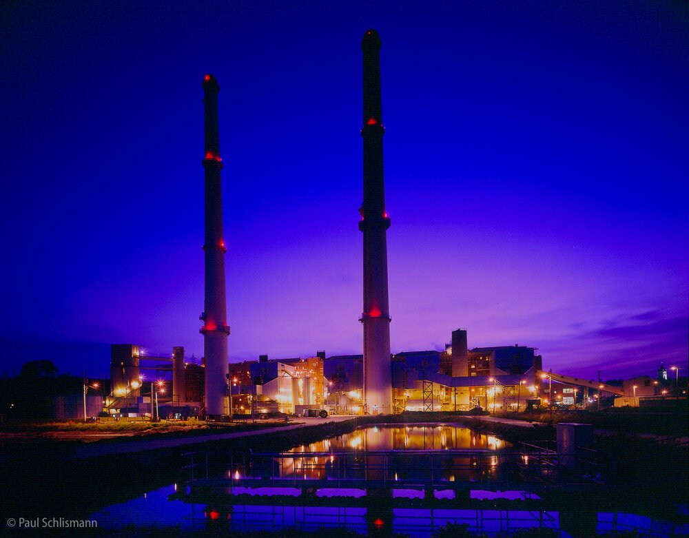 Phoenix industrial photographer | Dusk view of powerplant
