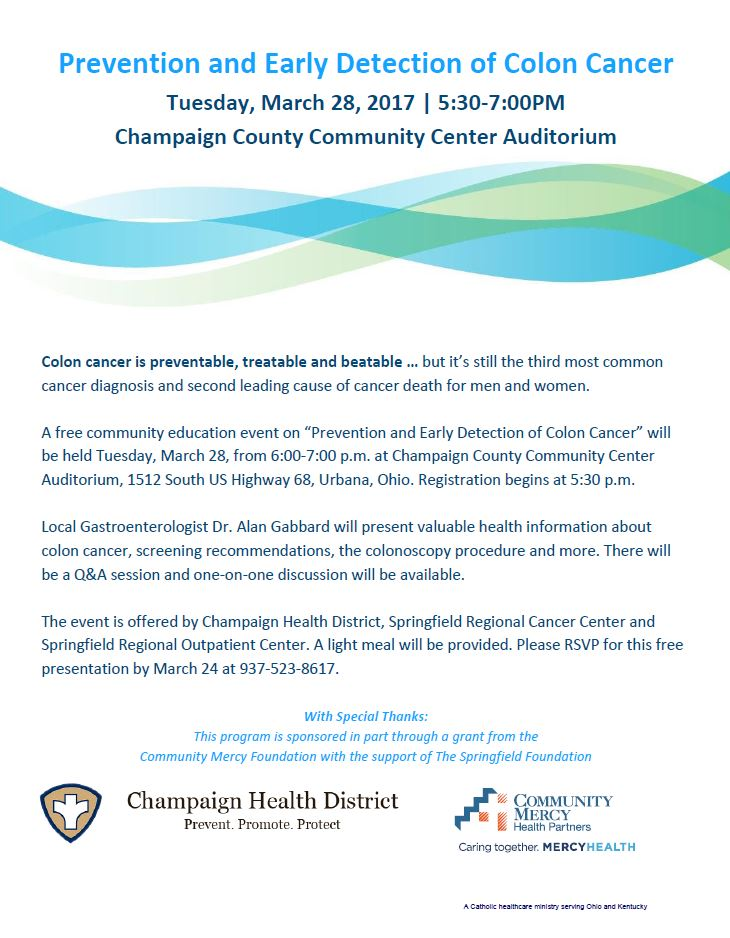 Free Prevention And Early Detection Of Colon Cancer Program To Be Hosted At Champaign County Health On Tuesday March 28th 6 7 Pm Champaign Health District