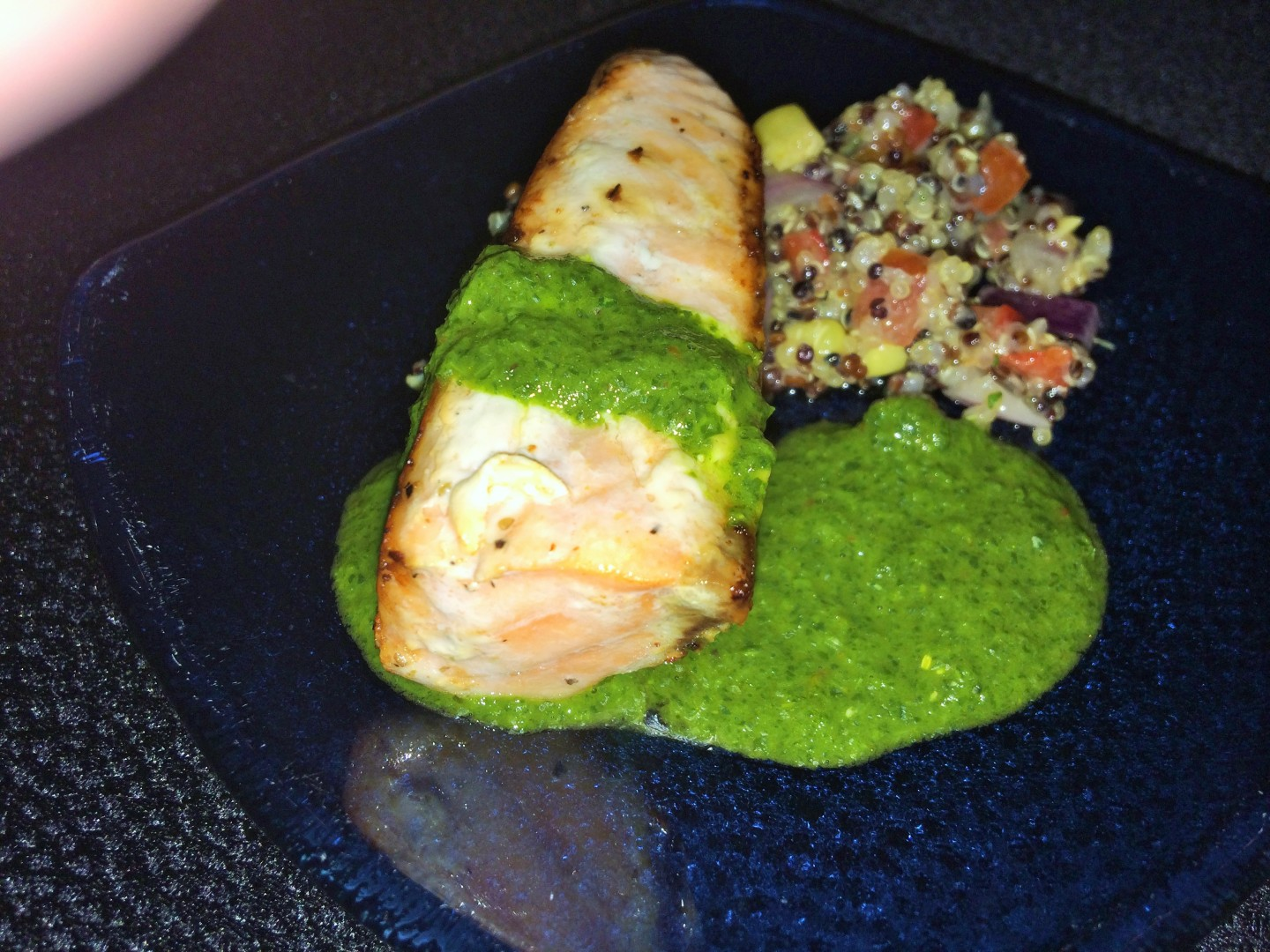 Roasted Verlasso salmon with quinoa salad and arugula chimichurri