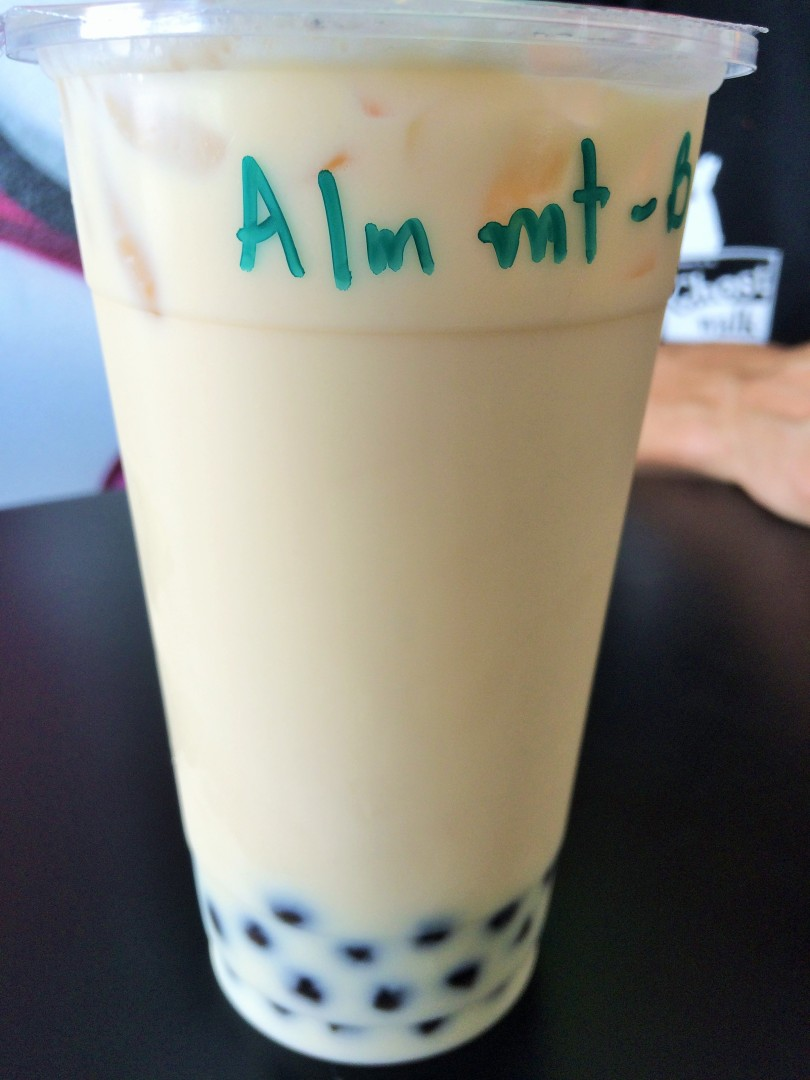 Almond milk tea with boba