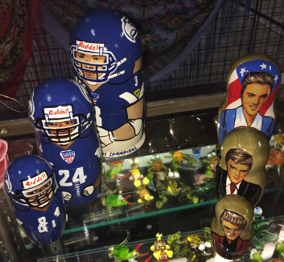 Russian-style petrushka dolls football players Elvis Presley
