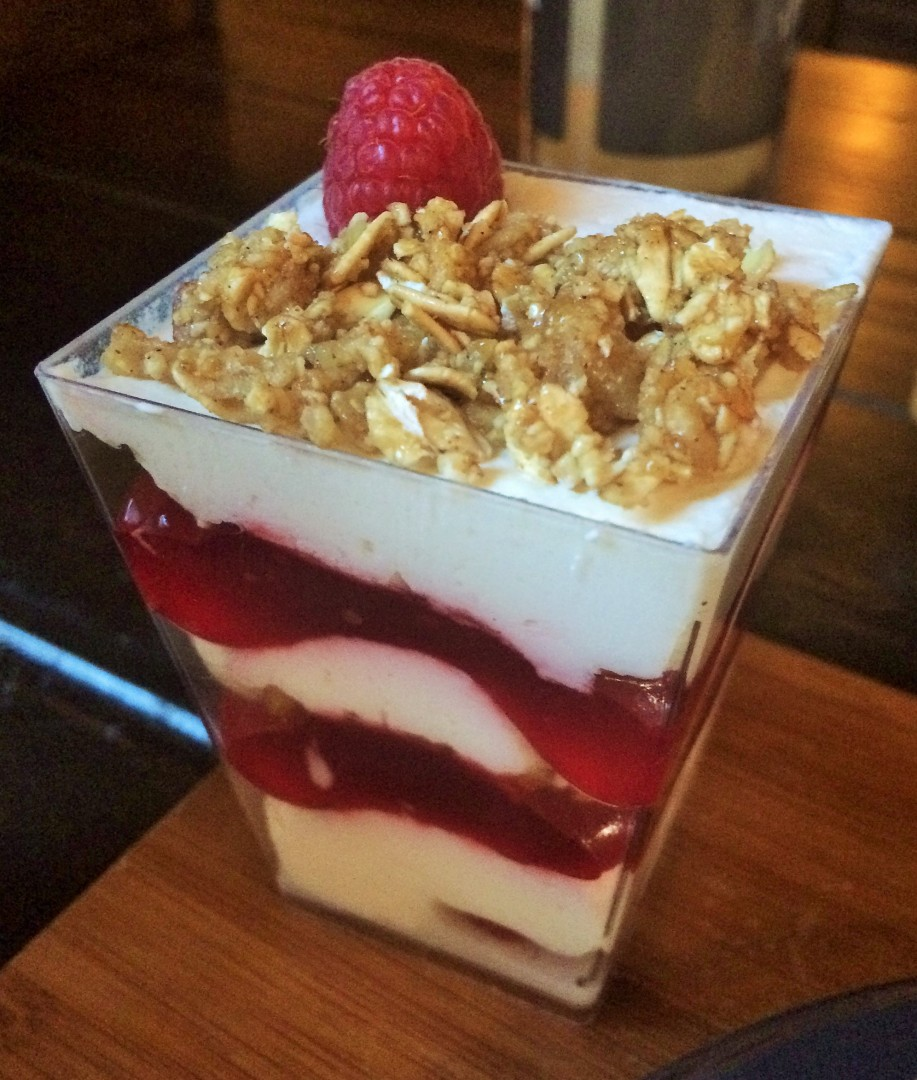 Cranachan, rasperry jelly, creme fraiche, and granola