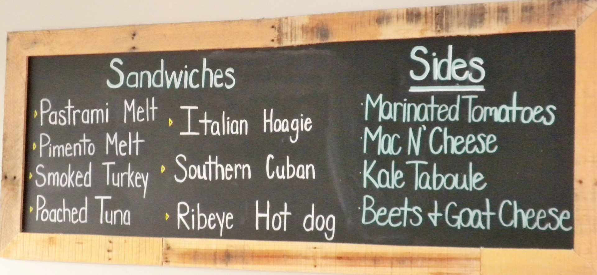 Today's sandwich menu