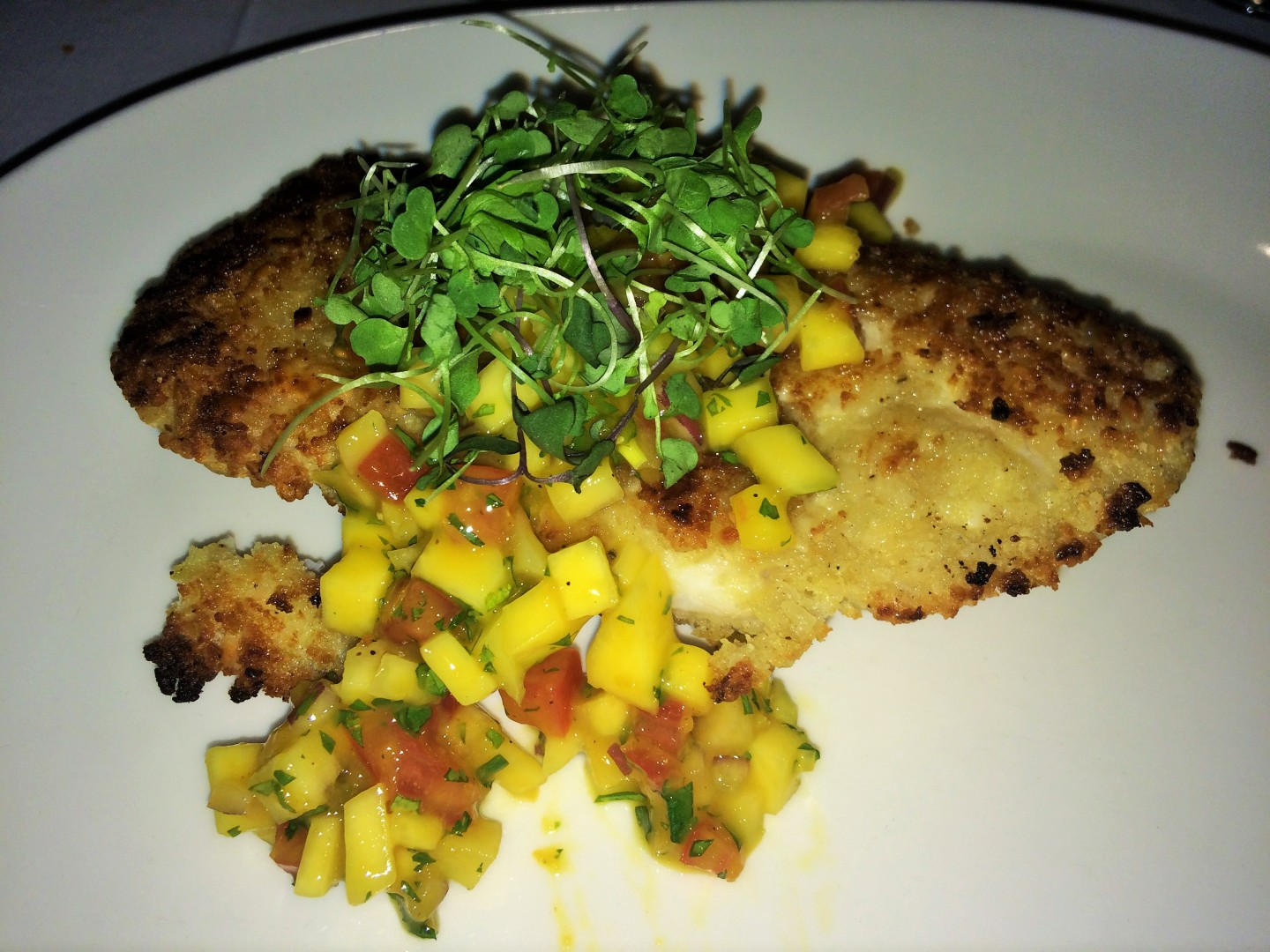 Macademia-crusted grouper at Restaurant 59 in the clubhouse