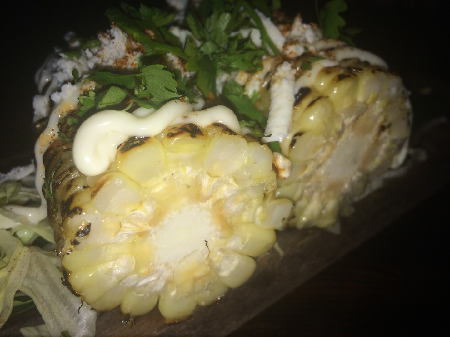 Fire-roasted Mexico City corn with cilantro and queso fresco