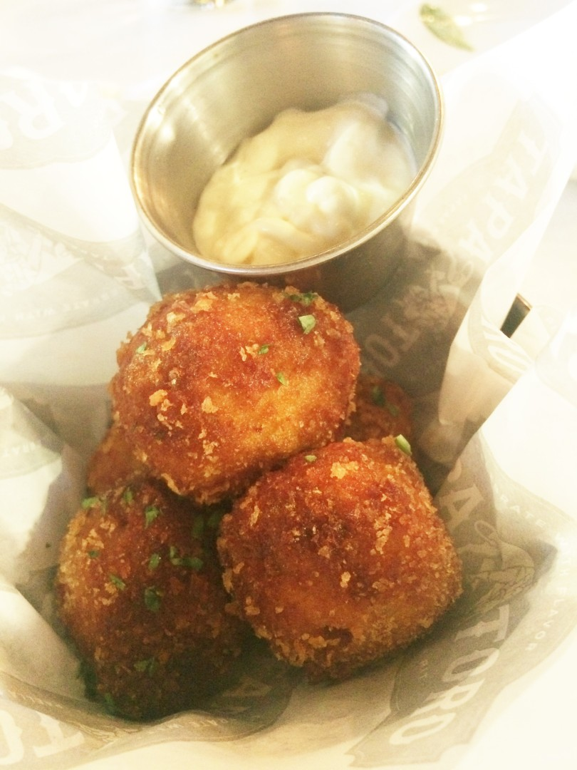 Croquetas de jamon--ham and potato croquettes with chives, manchego cheese, and aioli
