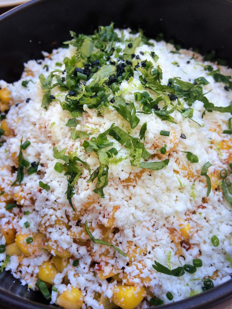 Taco María: Esquites -- yellow corn, cornhusk butter, cotija cheese, chile, and black lime