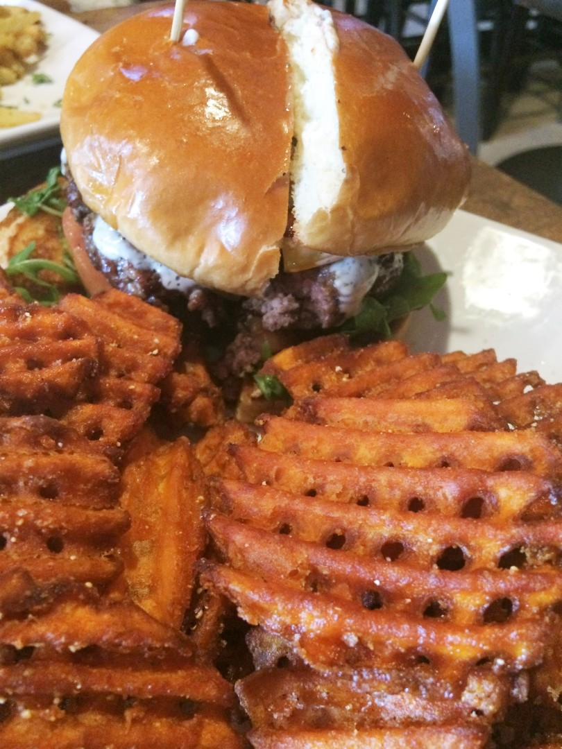 The Whiskey with sweet potato waffle fries