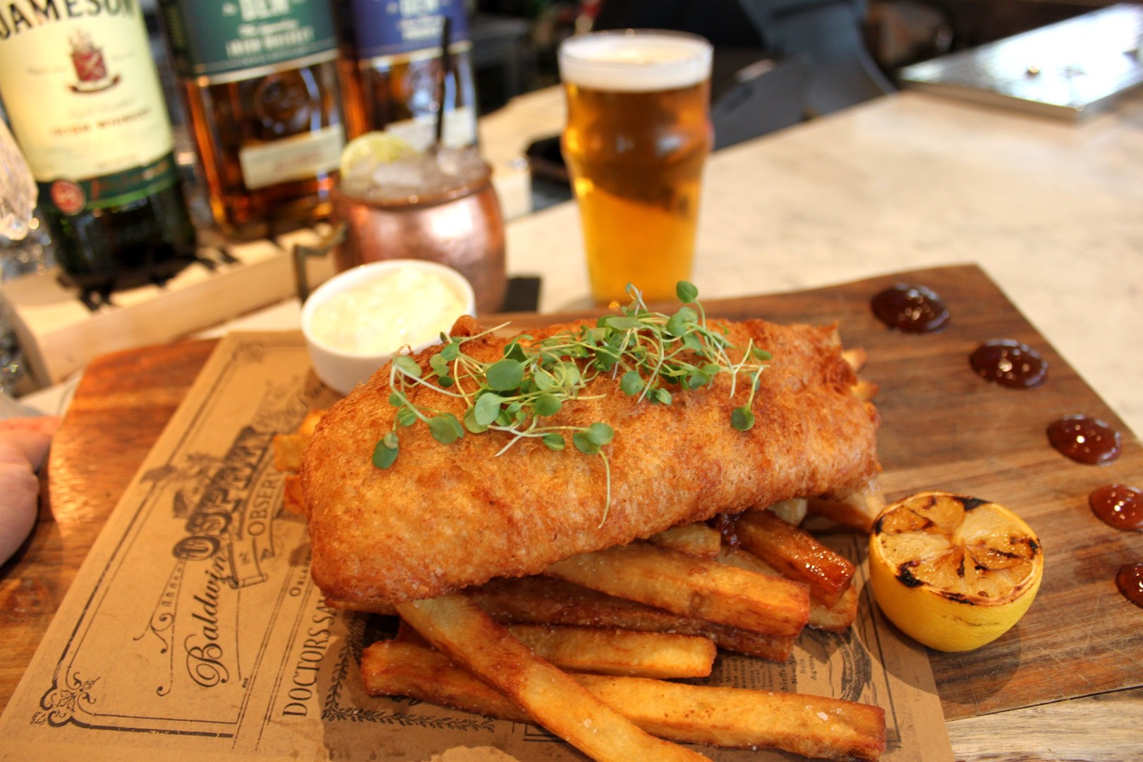 Osprey Tavern's IPA-battered fish 'n' chips with smoked french fries will be served on St Patricks Day in Orlando