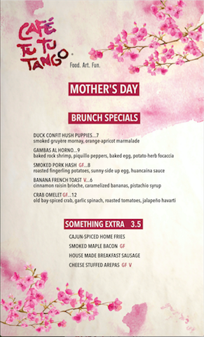 Mothers Day on Orlando brunch menu: Cafe Tu Tu Tango Orlando 2016