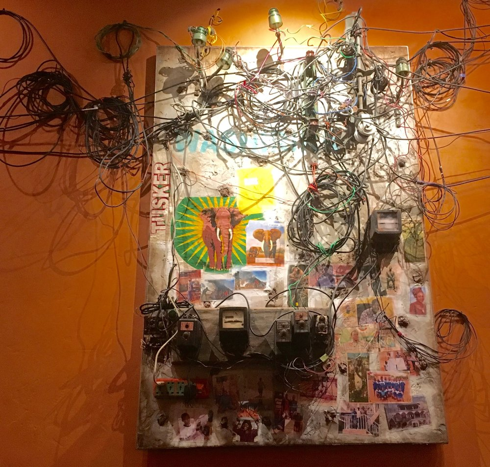 This jumble in Tiffins is what electrical panels in African towns might look like.