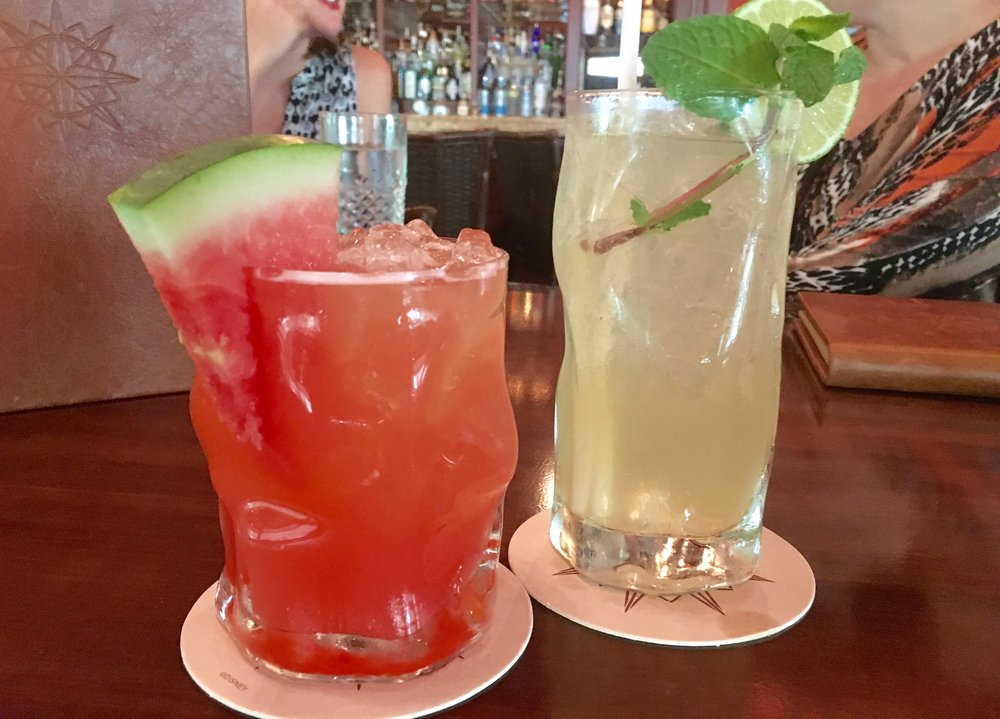 Two refreshing cocktails at Tiffins