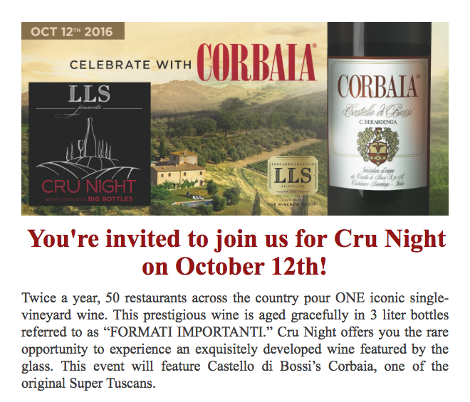 Attend Cru Night at Peperoncino Orlando