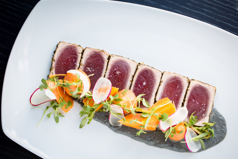 Seared tuna with black tahini and preserved lemon