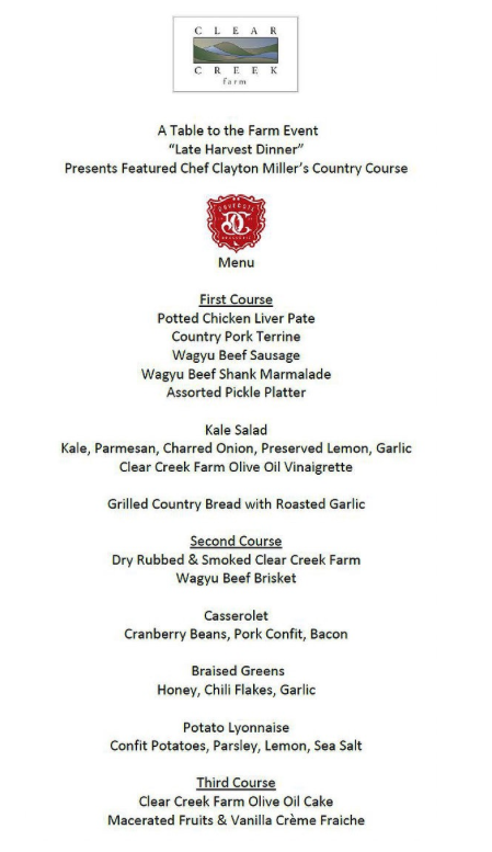 Have a DoveCote Dinner at Clear Creek Farm menu