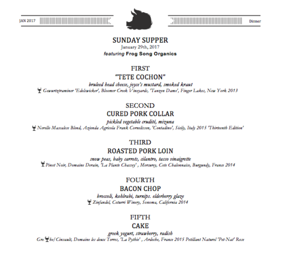 Sup at Ravenous Pig's Sunday Supper menu