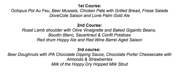Drink Cask & Larder Beers at DoveCote Dinner menu