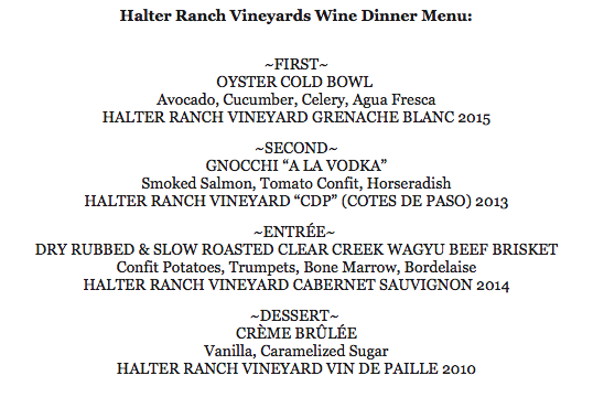 Sip Halter Ranch Wines at DoveCote Dinner