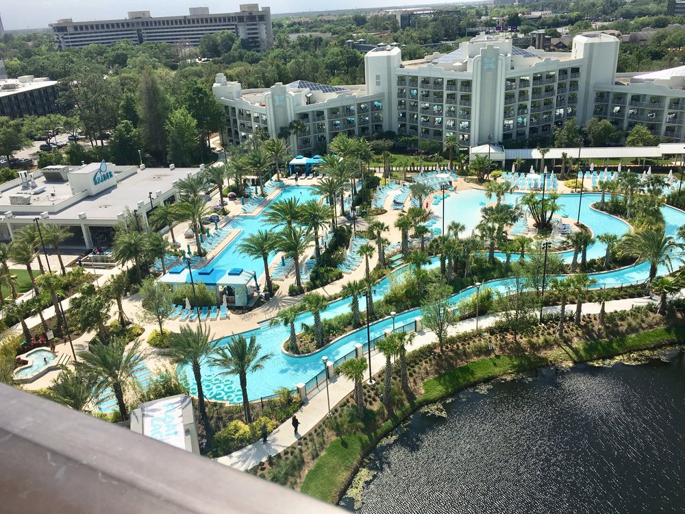 You'd never know it driving by, but the Hilton Orlando Buena Vista Palace has a large pool complex with a lazy river. It's all new.