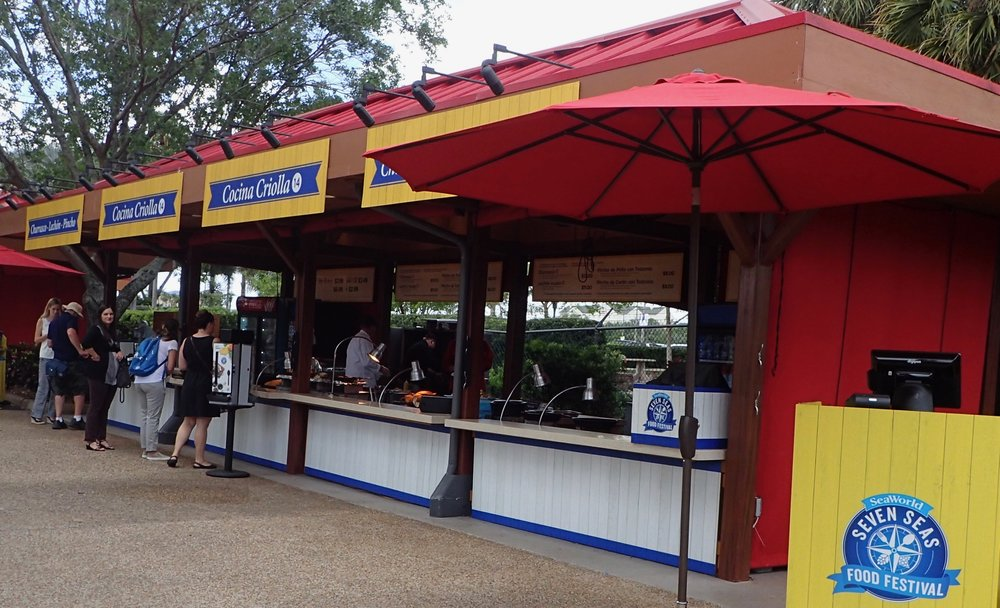 This is the Latin-food area of the SeaWorld Orlando Seven Seas Food Festival. You get to see the chefs cooking. It's worth stopping buy just for the aromas.